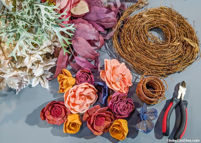DIY Diva: Crescent Moon Wreath Tutorial featuring Sola Wood Flowers - DivineMrsDiva.com