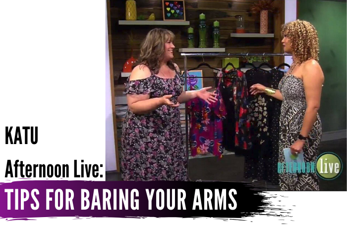 In today's KATU Afternoon Live Companion post, Hailey shares her tips for accepting your arms and wearing sleeveless tops, with options for arm coverage if you just aren't there yet. - DivineMrsDiva.com #AfternoonLive #KATUAfternoonLive #BodyPositivity #BodyAcceptance #BareArms #Torrid #LaneBryant #JCP #Catherines #HipsandCurves #Dressbarn #Kiyonna #ASOSCurve #Targetstyle #portland #psblogger #plussizeblogger #styleblogger #plussizefashion #plussize #psootd #ootd #plussizeclothing #outfit #style #spring #springstyle #summer #summerstyle