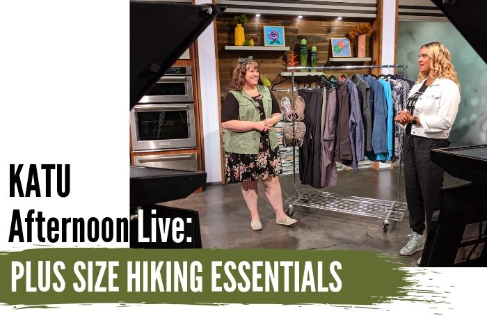 In today's KATU Afternoon Live post, Hailey shares her top picks for hiking clothing essentials, sharing what items worked well for her on her recent vacation full of hiking! - DivineMrsDiva.com #AfternoonLive #KATUAfternoonLive #portland #psblogger #psootd #plussize #styleblogger #plussizeclothing #outfit #style #plussizecasual #pdx #plussizeblogger #hiking #outdoor #fatgirlshiking #Columbia #NewBalance #Reebok #UllaPopken