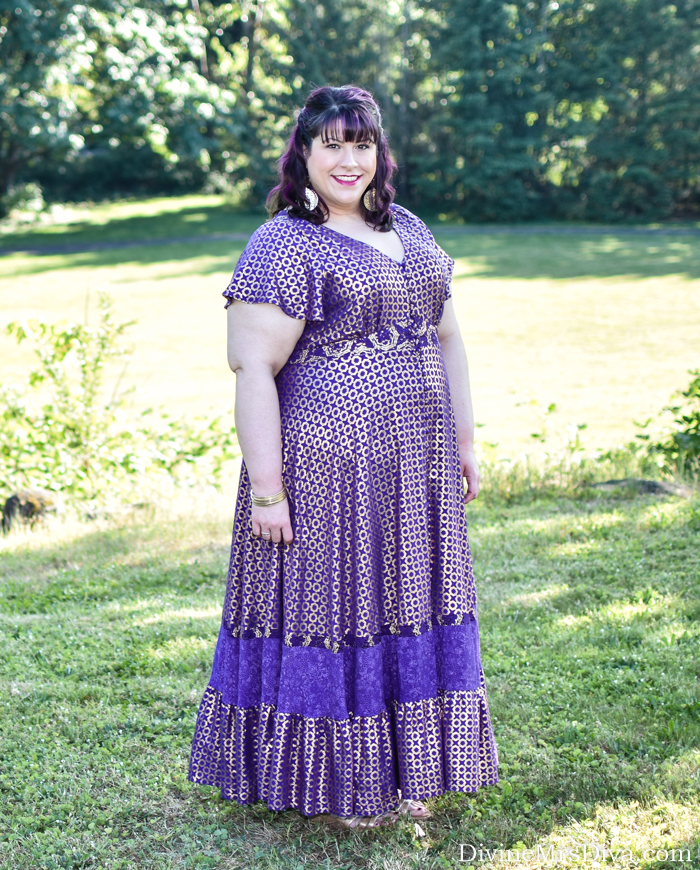 In today's post, Hailey reviews the Her Universe Disney Jasmine Purple Maxi Dress from Torrid's Aladdin Collection. - DivineMrsDiva.com #Torrid #TorridInsider #psblogger #plussizeblogger #styleblogger #plussizefashion #plussize #psootd #ootd #plussizeclothing #outfit #style #plussizecasual #spring #summer #springstyle #summerstyle #comfortiva #lanebryant #maxidress #aladdin #disney #charmingcharlie
