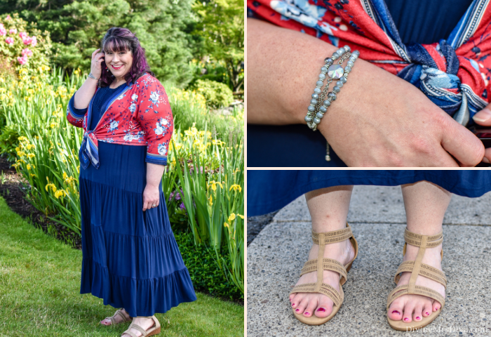 In today's #sponsored post, Hailey reviews three Catherines looks inspired by the classic Americana of summertime, featuring the Embroidered Gauze Peasant Top, Suprema Cami with Lace, Printed Flat Front Capri, Good Soles Double-Strap Flip Flop Sandal, Tiered Maxi Dress with Embroidery, Cherry Blossom Duet Top, Clearwater Slider Bracelet, and Good Soles Perforated-Strap Wedge Sandal! - DivineMrsDiva.com #CatherinesStyle #Catherines #psblogger #plussizeblogger #styleblogger #plussizefashion #plussize #psootd #ootd #plussizeclothing #outfit #style #plussizecasual #summer #summerstyle #americana