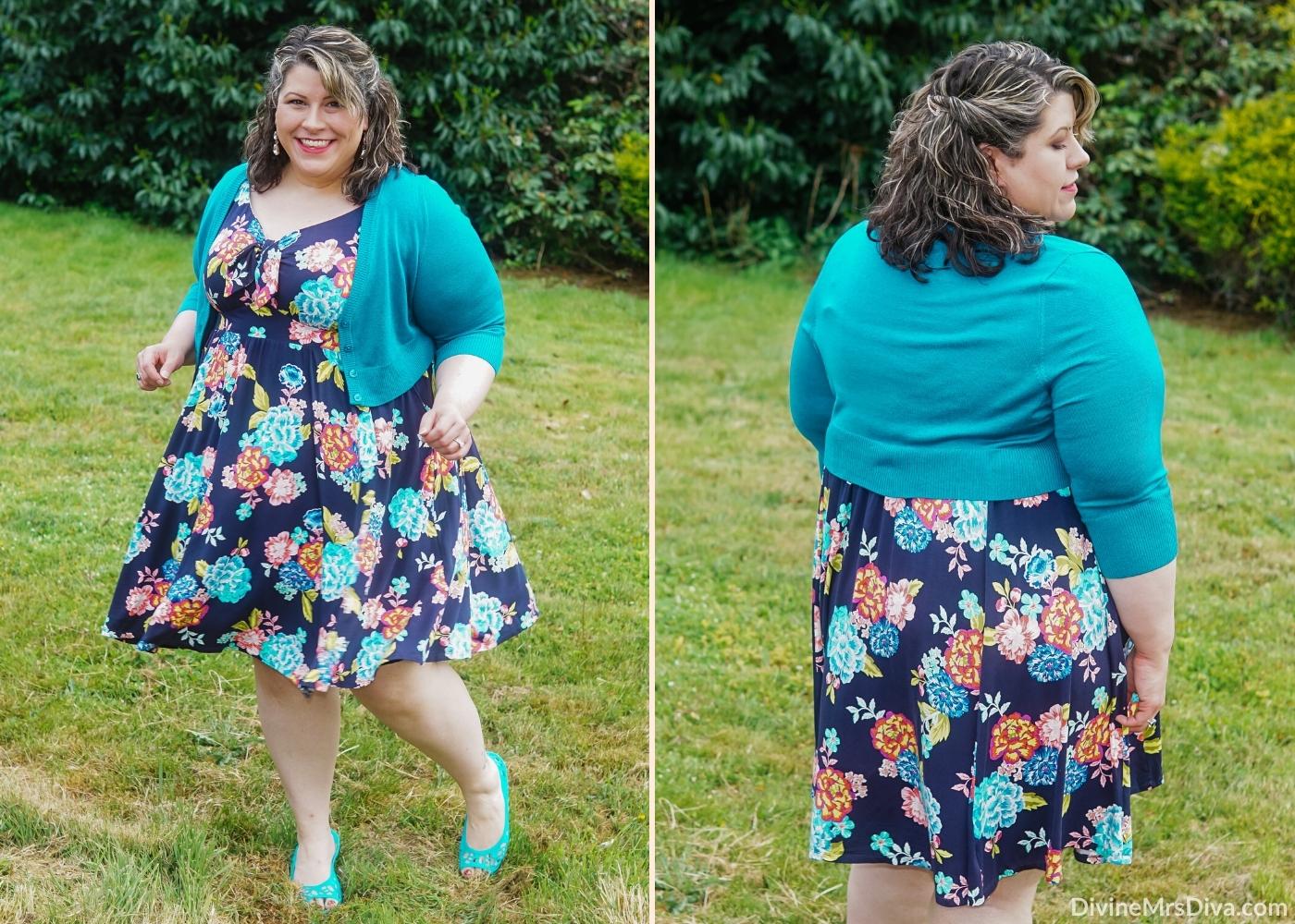 Reviewing Torrid's Blue Floral Super Soft Tie-Front Skater Dress -  DivineMrsDiva.com #psblogger #plussize #styleblogger #plussizeblogger #plussizefashion #psootd #ootd #plussizeclothing #outfit #style #40style #40plusblogger #Torrid