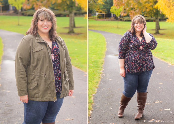 In today's post, Hailey's sharing a casual ensemble as an example of her fall outfit formula – tall boots, skinny jeans, a cute top, and layers! - DivineMrsDiva.com #Torrid #TorridInsider #LaneBryant #LaneStyle #Createyourlane #Avenue #TargetStyle #Ava&Viv #psblogger #plussizeblogger #styleblogger #plussizefashion #plussize #psootd #ootd #plussizeclothing #outfit #style #plussizecasual #spring #fall #springstyle #fallstyle