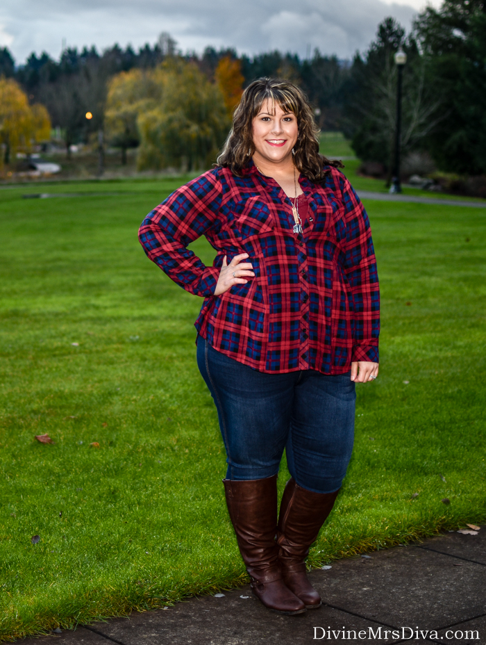 In today's post, Hailey's reviewing the Plaid Peplum Challis Camp Shirt from Torrid. - DivineMrsDiva.com #Torrid #TorridInsider #Avenue #MelissaMcCarthySeven7 #CityChic #Outlander #MetalMarvels #psblogger #plussizeblogger #styleblogger #plussizefashion #plussize #psootd #ootd #plussizeclothing #outfit #style #plussizecasual #fallstyle