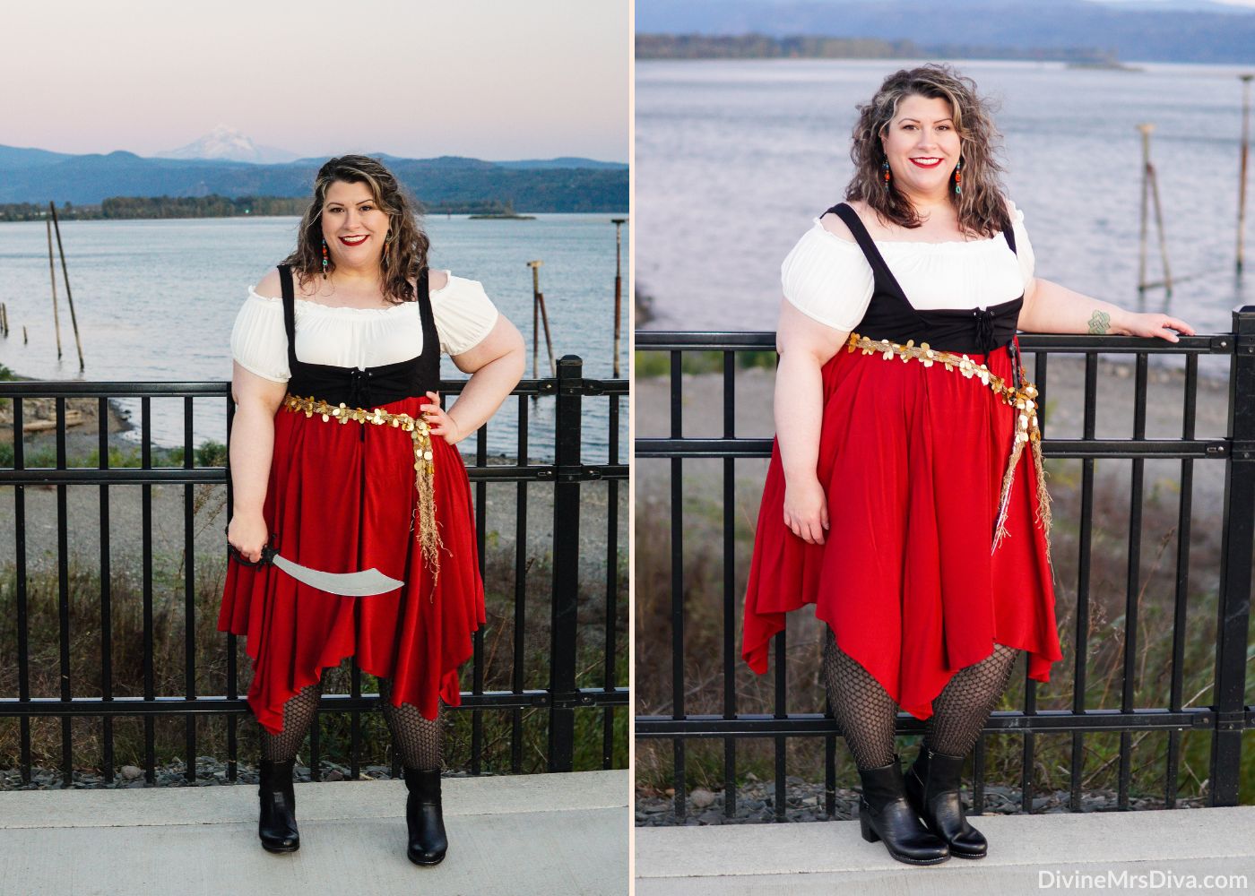 Celebrating Halloween 2020 with a trio of costumes that are easy to wear and super cute – Wonder Woman, Sabrina Spellman, & a Fiery Pirate!- DivineMrsDiva.com #psblogger #plussize #styleblogger #plussizeblogger #plussizefashion #psootd #ootd #plussizeclothing #outfit #style #torrid #Torridinsider #Feelthefit #hottopic #htfandom #Halloween #HalloweenStyle #PlusSizeHalloween #HalloweenCostume