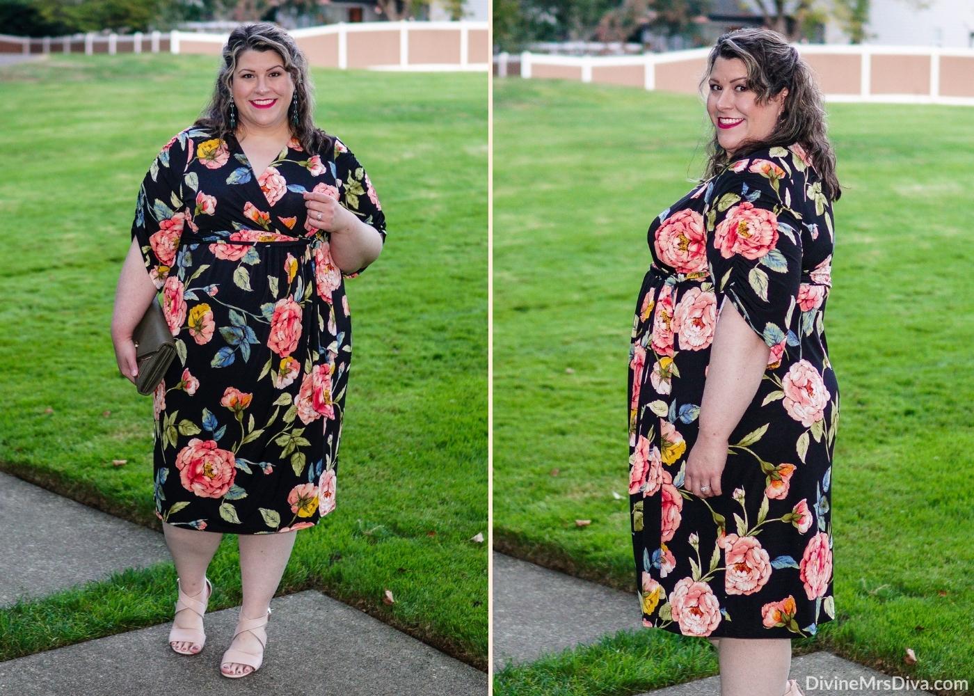 Reviewing Kiyonna's Eden Faux Wrap Dress -  DivineMrsDiva.com #psblogger #plussize #styleblogger #plussizeblogger #plussizefashion #psootd #ootd #plussizeclothing #outfit #style #40style #40plusblogger #Kiyonna #KiyonnaCurves #wrapdress