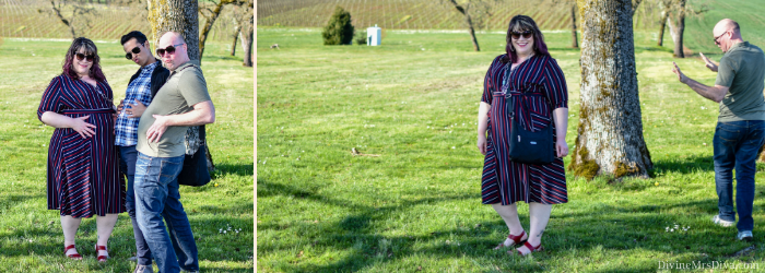 In today's post, Hailey's reviewing the extremely versatile Harmony Faux Wrap Dress from Kiyonna! - DivineMrsDiva.com #Kiyonna #KiyonnaStyle #PropetUSA #psblogger #plussizeblogger #styleblogger #plussizefashion #plussize #psootd #ootd #plussizeclothing #outfit #style #plussizecasual #fallstyle #springstyle #wrapdress #fauxwrapdress #stollerwinery #Stollerfamilyestate