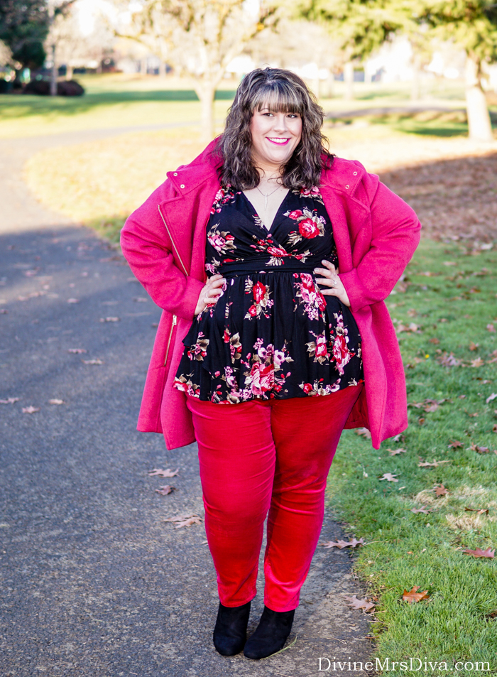 Hailey is making a statement in vibrant pink in LOFT's Wooly Moto Coat and Velvet Skinny Pants! – DivineMrsDiva.com #Loft #LoveLoft #LoftStyle #Catherines #Kiyonna #KiyonnaStyle #psblogger #plussizeblogger #styleblogger #plussizefashion #plussize #psootd #ootd #plussizeclothing #outfit #style #fall #fallstyle