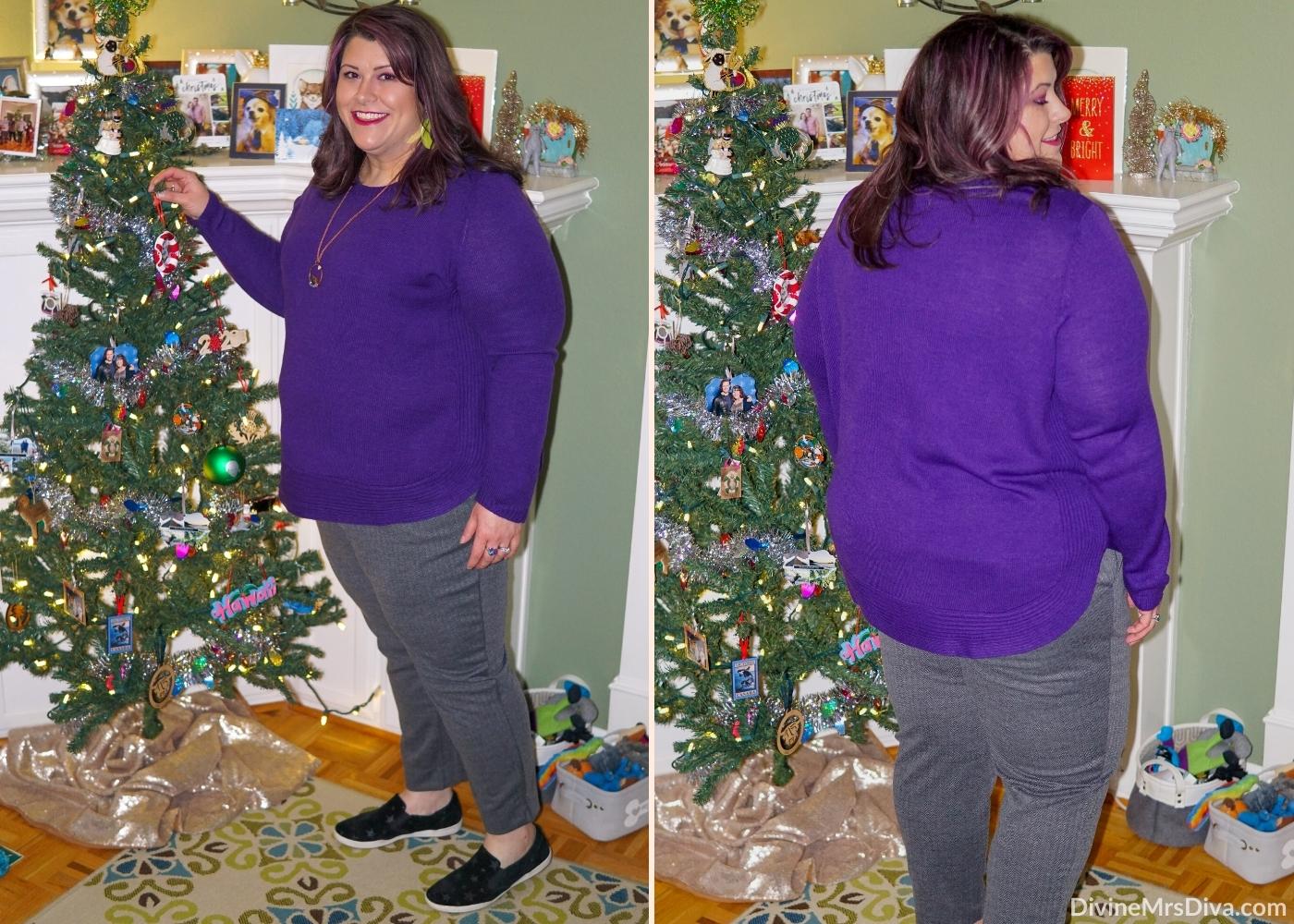 Shades of purple for a casual winter ensemble -  DivineMrsDiva.com #psblogger #plussize #styleblogger #plussizeblogger #plussizefashion #psootd #ootd #plussizeclothing #outfit #style #40style #40plusblogger #FallStyle #WinterStyle #LaneBryant #CreateYourLane #Torrid #FeelTheFit