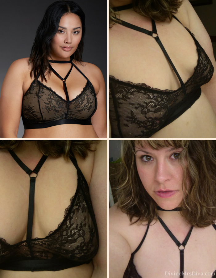 In today's plus size lingerie post, Hailey reviews bralettes from Torrid and Hips and Curves, and includes reviews of the All Lace Camisole and Two Piece Velvet Corset and Skirt Set from Hips and Curves. - DivineMrsDiva.com (Torrid Lace Halter Bralette) #Torrid #TorridInsider #hipsandcurves #plussizelingerie #lingerie #bralettes #plussizebralettes #psblogger #plussizeblogger #styleblogger #plussizefashion #plussize #plussizeclothing