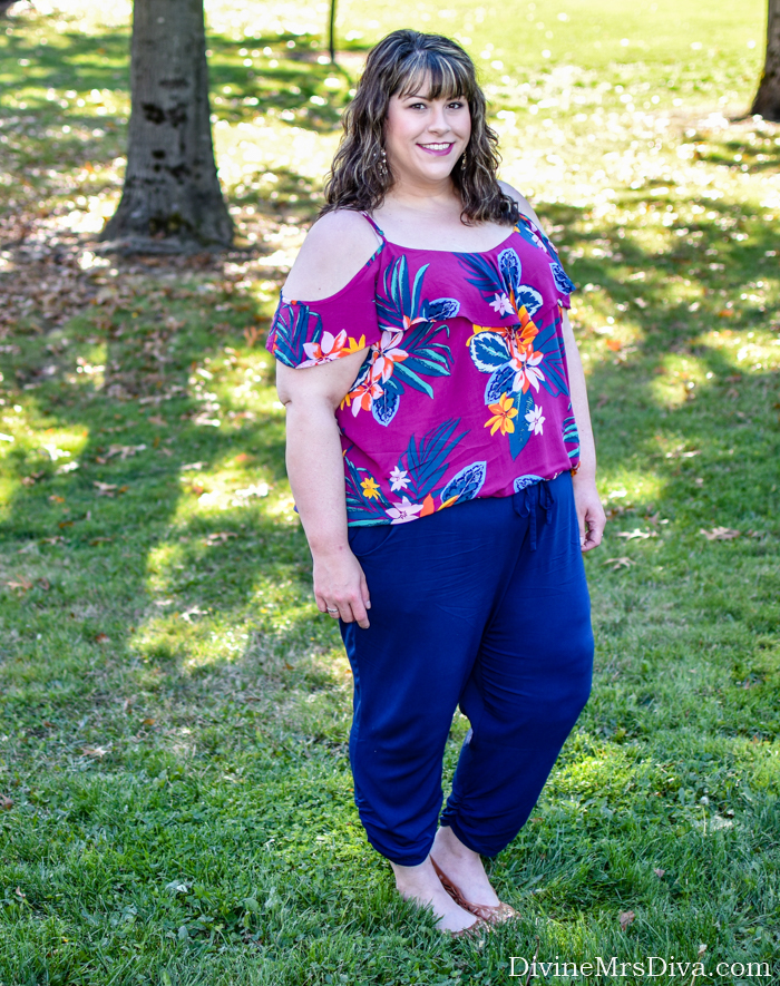 In today's post, Hailey's cool and colorful in her Old Navy off-the-shoulder top and Torrid soft pants. - DivineMrsDiva.com #Torrid #TorridInsider #OldNavy #psblogger #plussizeblogger #styleblogger #plussizefashion #plussize #psootd #ootd #plussizeclothing #outfit #style #plussizecasual #spring #summer #springstyle #summerstyle #crocs