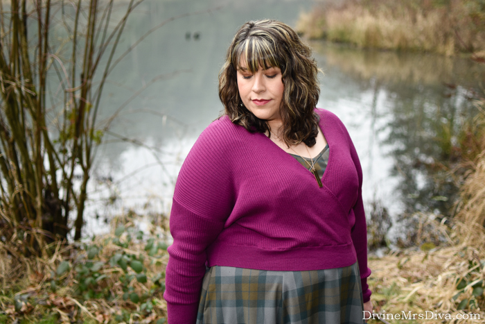 In today's post, Hailey's reviewing the Leith Rib Wrap Sweater via Nordstrom and remixing her favorite tartan dress for a winter-ready look. - DivineMrsDiva.com #Torrid #TorridInsider #Leith #Nordstrom #Outlander #MetalMarvels #HotTopic #Comfortiva #psblogger #plussizeblogger #styleblogger #plussizefashion #plussize #psootd #ootd #plussizeclothing #outfit #style #plussizecasual #fallstyle #winterstyle #tartan #Outlanderfashion #torridfangirl