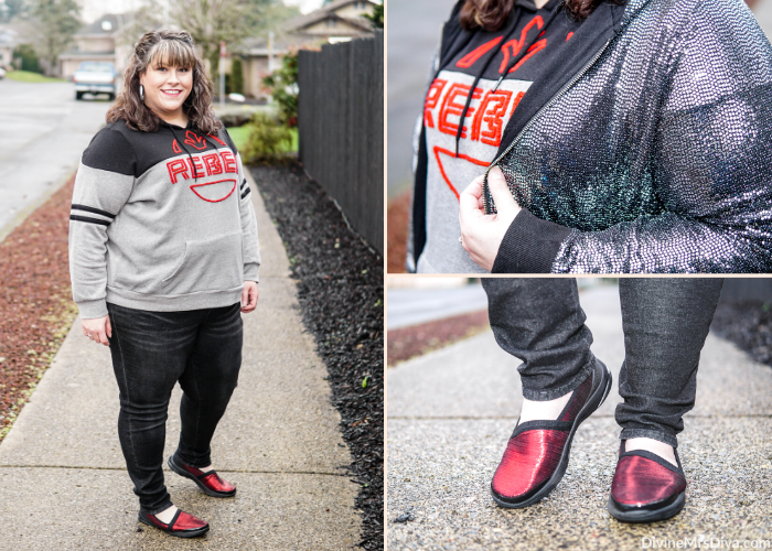 Hailey dressed on theme to see Episode 9 of Star Wars in her Rebel sweatshirt and sequin hoodie from Torrid. - DivineMrsDiva.com #psblogger #plussizeblogger #styleblogger #plussizefashion #plussize #psootd #ootd #plussizeclothing #outfit #style #torrid #Torridinsider #Feelthefit #plussizecasual #StarWars #HerUniverse #UniversalStandard #BZees #USinthewild #bzeesrebelgirls
