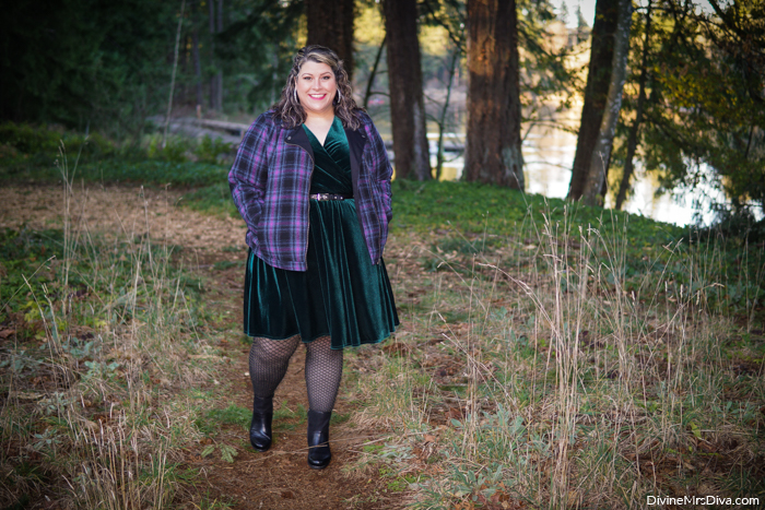 Forest Witch Glam: A velvet fit & flare dress with purple plaid moto jacket makes me feel sassy & cute! -  DivineMrsDiva.com #psblogger #plussize #styleblogger #plussizeblogger #plussizefashion #psootd #ootd #plussizeclothing #outfit #style #40style #40plusblogger #LaneBryant #Torrid #Dansko #SnagTights