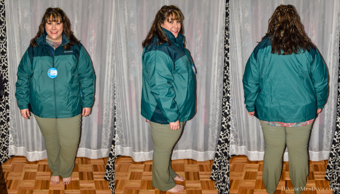 In today's At Home Fitting Room post, Hailey is trying on lots of outdoor apparel for an upcoming vacation!  Waterproof jackets, outdoor/hiking clothing bottoms, and waterproof hiking shoes are featured. (Columbia Big and Tall Men's Glennaker Lake Rain Jacket) – DivineMrsDiva.com #Columbia #KEEN #Teva #UllaPopken #NewBalance #hiking #outdoor #fatgirlshiking #plussizetravel #psblogger #plussizeblogger #styleblogger #plussizefashion #plussize #plussizeclothing #outfit #plussizecasual #fittingroom