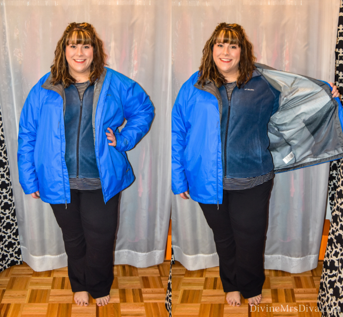 In today's At Home Fitting Room post, Hailey is trying on lots of outdoor apparel for an upcoming vacation!  Waterproof jackets, outdoor/hiking clothing bottoms, and waterproof hiking shoes are featured. (Columbia Big and Tall Men's Watertight II Jacket) – DivineMrsDiva.com #Columbia #KEEN #Teva #UllaPopken #NewBalance #hiking #outdoor #fatgirlshiking #plussizetravel #psblogger #plussizeblogger #styleblogger #plussizefashion #plussize #plussizeclothing #outfit #plussizecasual #fittingroom
