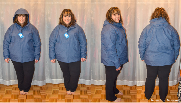 In today's At Home Fitting Room post, Hailey is trying on lots of outdoor apparel for an upcoming vacation!  Waterproof jackets, outdoor/hiking clothing bottoms, and waterproof hiking shoes are featured. (Columbia Men's Diablo Creek Rain Shell) – DivineMrsDiva.com #Columbia #KEEN #Teva #UllaPopken #NewBalance #hiking #outdoor #fatgirlshiking #plussizetravel #psblogger #plussizeblogger #styleblogger #plussizefashion #plussize #plussizeclothing #outfit #plussizecasual #fittingroom