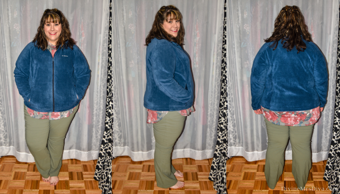 In today's At Home Fitting Room post, Hailey is trying on lots of outdoor apparel for an upcoming vacation!  Waterproof jackets, outdoor/hiking clothing bottoms, and waterproof hiking shoes are featured. (Columbia Women's Plus Size Benton Springs Full-Zip Fleece Jacket) – DivineMrsDiva.com #Columbia #KEEN #Teva #UllaPopken #NewBalance #hiking #outdoor #fatgirlshiking #plussizetravel #psblogger #plussizeblogger #styleblogger #plussizefashion #plussize #plussizeclothing #outfit #plussizecasual #fittingroom