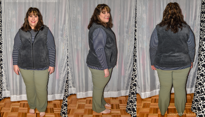 In today's At Home Fitting Room post, Hailey is trying on lots of outdoor apparel for an upcoming vacation!  Waterproof jackets, outdoor/hiking clothing bottoms, and waterproof hiking shoes are featured. (Columbia Women's Plus Size Benton Springs Vest) – DivineMrsDiva.com #Columbia #KEEN #Teva #UllaPopken #NewBalance #hiking #outdoor #fatgirlshiking #plussizetravel #psblogger #plussizeblogger #styleblogger #plussizefashion #plussize #plussizeclothing #outfit #plussizecasual #fittingroom