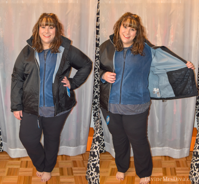 In today's At Home Fitting Room post, Hailey is trying on lots of outdoor apparel for an upcoming vacation!  Waterproof jackets, outdoor/hiking clothing bottoms, and waterproof hiking shoes are featured. (Columbia Women's Plus Size Switchback III Jacket) – DivineMrsDiva.com #Columbia #KEEN #Teva #UllaPopken #NewBalance #hiking #outdoor #fatgirlshiking #plussizetravel #psblogger #plussizeblogger #styleblogger #plussizefashion #plussize #plussizeclothing #outfit #plussizecasual #fittingroom