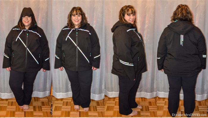 In today's At Home Fitting Room post, Hailey is trying on lots of outdoor apparel for an upcoming vacation!  Waterproof jackets, outdoor/hiking clothing bottoms, and waterproof hiking shoes are featured. (Ulla Popken Reflective Rainbow Stripe Triple Function Jacket) – DivineMrsDiva.com #Columbia #KEEN #Teva #UllaPopken #NewBalance #hiking #outdoor #fatgirlshiking #plussizetravel #psblogger #plussizeblogger #styleblogger #plussizefashion #plussize #plussizeclothing #outfit #plussizecasual #fittingroom